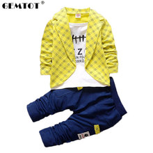 Toddler Baby Boy Formal Clothing Wear Fashion Set 2016 Newest Yellow Boys Clothes Suit 2PCS Childrens Infant Clothings