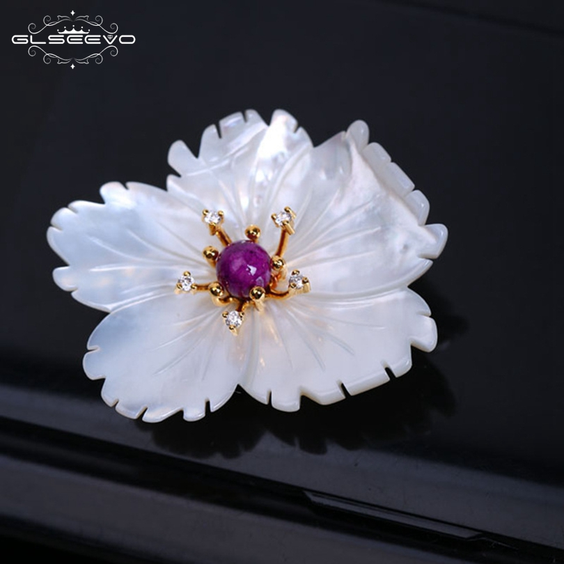 GLSEEVO Natural Mother Of Pearl Flower Brooch Pins Purple Chalcedon Grape Brooches For Women Luxury Fine