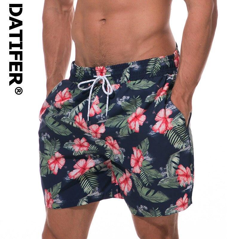 Datifer Board Shorts Men Swimwear Quick Dry Flower Sport Plus Size Beach Wear Briefs For Men Beachshorts