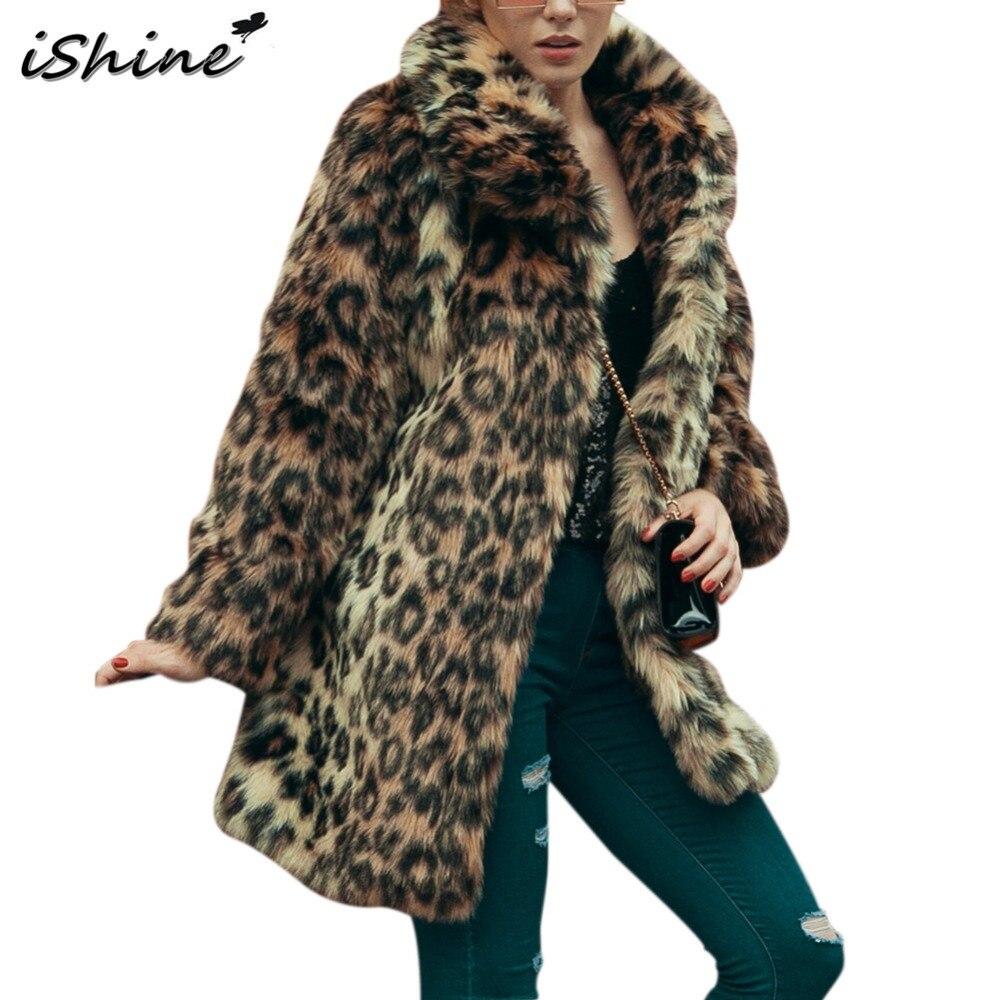 Lady Imitation Manches Long Manteau Élégant Longues En Hiver Boucle De Nouvelle Léopard Fourrure Leapord Fausse Ishine Femmes Outwear Chaud À Slim Avec aOtw8qxWP