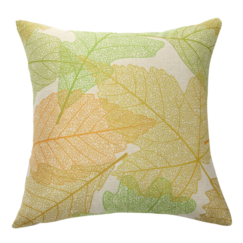 Stylish Simplicity Leaves Design Cotton Linen Home Decorative Throw Pillow Case Cushion Cover for Sofa Couch, 18 x 18