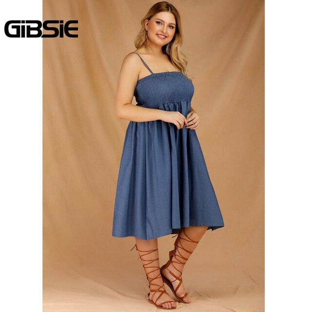 GIBSIE Plus Size Women's Denim Spaghetti Strap Dresses 2019 Summer Casual High Waist Big Hem Sleeveless Midi Dress Vestidos 3
