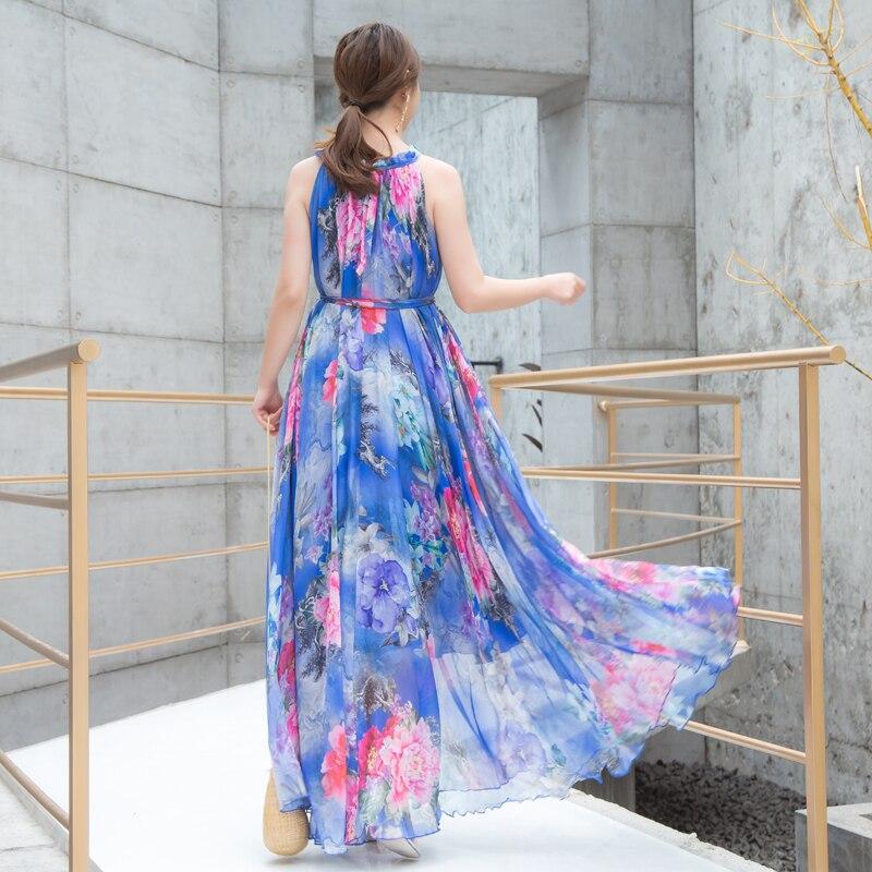 2019 Boho Playa Vestido Flores Honor Largo Tamaños Celebridad Maxi Nuevo Floral cena Dama graduación Plus Verano De Gasa UUqg4rw