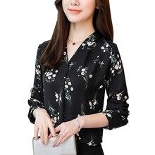 Women's Shirt Chiffon Blouse Women Shirts Floral Print Tops Casual V-neck Long Sleeve Office Shirt Blusas