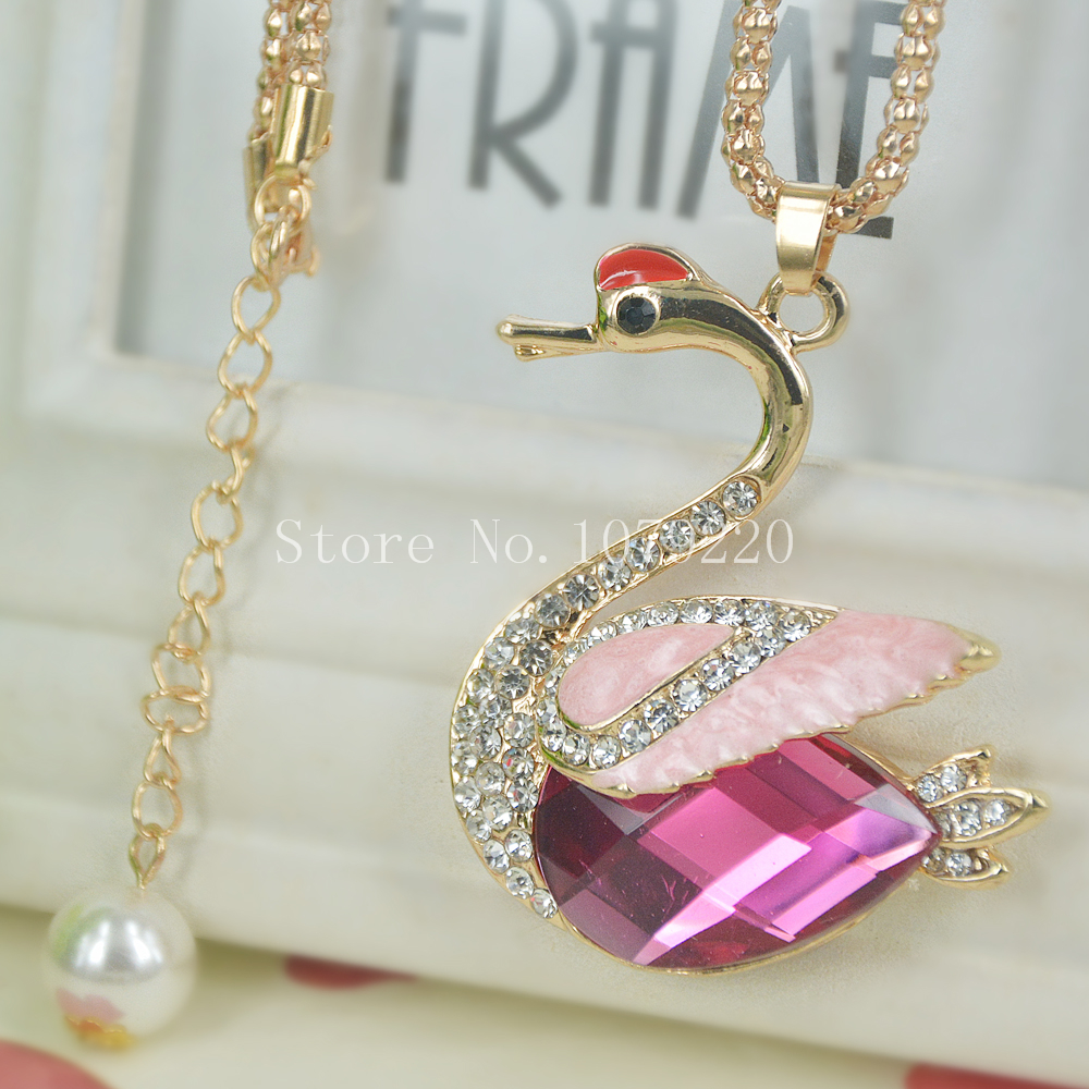 Swan Sweater Beads Necklace Jewelry Crystal Women Long Necklace Pendants Rhinestone Chain Christmas Valentines Lover Gift