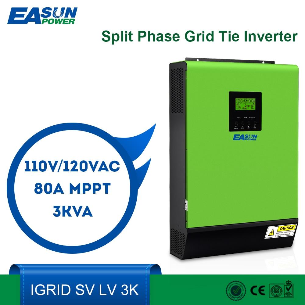 EASUN POWER 110V Grid Tie Inverter Split Phase 120V 2400W 24V Solar Inverter 2000W MPPT Inverters