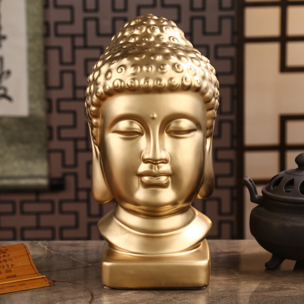 Ceramic Buddha statue Sakyamuni sculpture Head of Buddha statues for decoration Feng shui religious statue Spray gold figurine