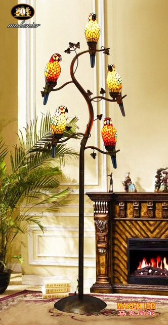 Makenier Vintage Tiffany Style Stained Glass 5 light Parrot Tree ...