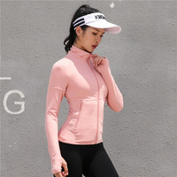 Women's Yoga Jacket Running Sport Jackets Polyester Long Sleeve Ladies Hooded Sports Zipper Jacket Fitness Gym Shirts For Girl