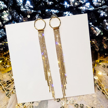 Statement Rhinestone Tassel Earrings For Women Korean Long Earrings With Stones Gold Color Party New Fashion Jewelry Bijoux Gift цена