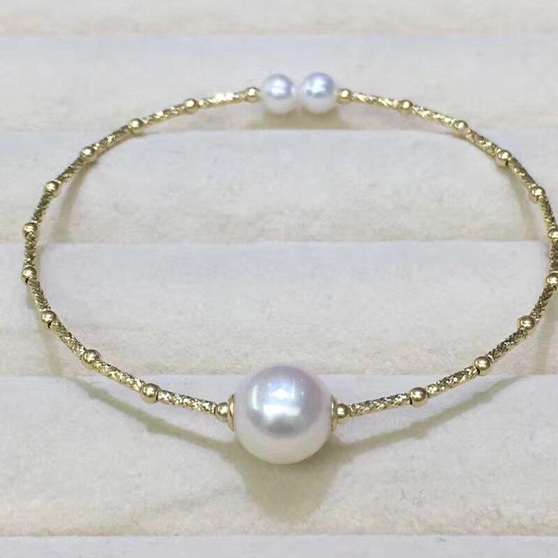 Sinya Naturel perles 18 k AU750 d'or tube Bracelets bracelet pour les femmes fille Maman amant longueur environ 17.5 cm perle diamètre 9-10 cm