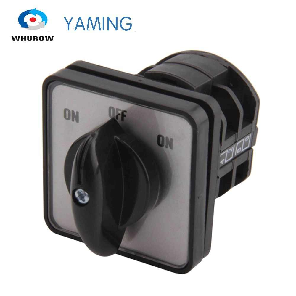 Yaming electric LW8-10/2 on-off-on changeover rotary cam switch 660V 10A 2 poles 3 position 8 terminals silver contact