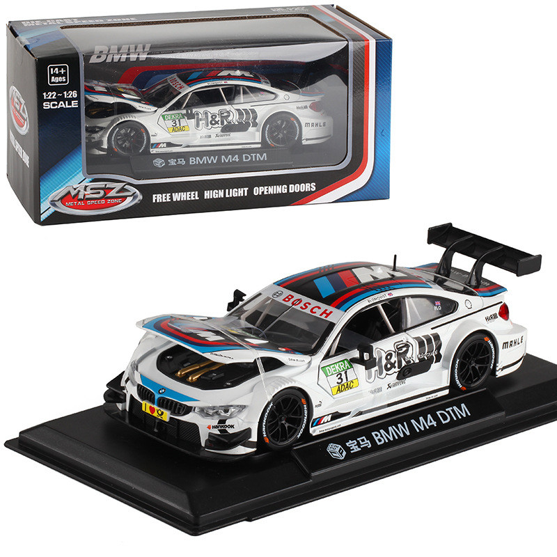 1:24 M4 M6 DTM/Z4 GT3 Free Wheeling High Light Sport Racing Car Model Hot Color Wheel Diecast Metal Alloy Vehicle