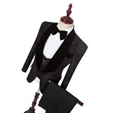 Pernikahan Suit Perkahwinan Suit Untuk Lelaki 2018 Mens Striped Suit Perkahwinan Pengantin Tuxedo, Disesuaikan 3 Piece Suit Tuxedos Perkahwinan Hitam Untuk Lelaki