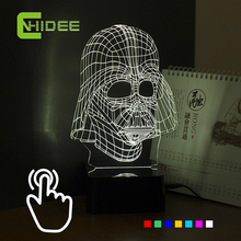 CNHIDEE 7 Colors 3D Visiual Darth Vader USB Led RGB Night Light Star War Figure Touch Desk Table Lampara as Home Decor Lampe
