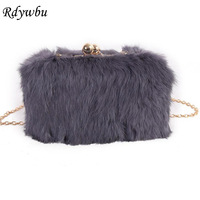Rdywbu 2017 Handbag Fashion Hair Fake Fur Clutch Bag Iron Clip Box Women Wedding Evening Bag Solid Party Purse Female Bolsas H93