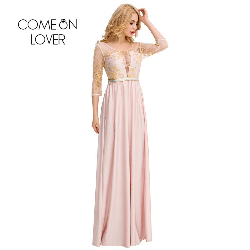 Comeonlover Bohemian Autumn Dress výšivka Elegantní dlouhé Maxi šaty Robe De Soiree Women Plus velikost tři čtvrtiny rukáv VI1025