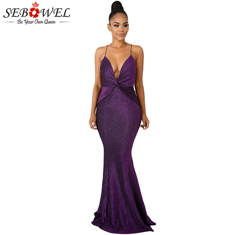Women's Clothing Sweet-Tempered Sebowel Purple/black Glistening Sequins Maxi Dress Woman Sleeveless Backless Long Glitter Dresses For Female Party Night Evening To Rank First Among Similar Products