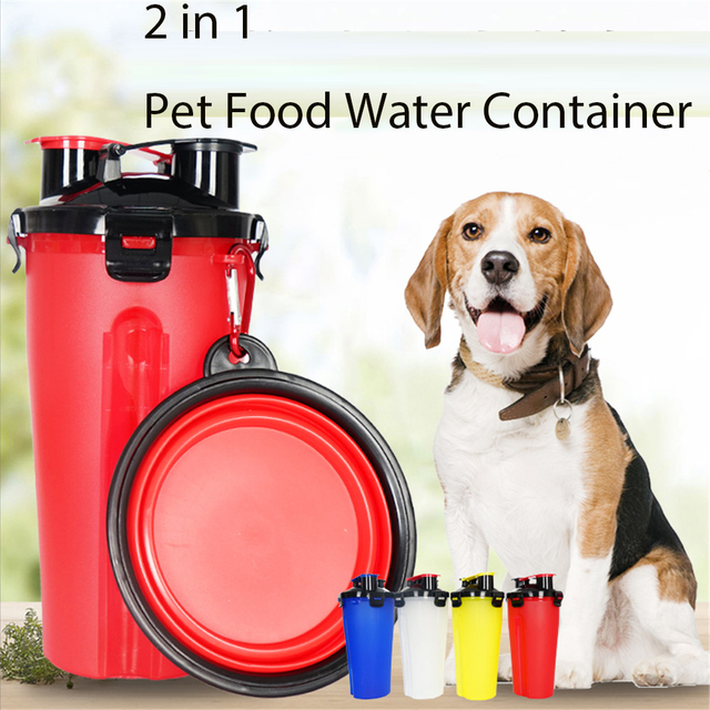 2018 New 2 in 1 Pet Water Food Container Outdoor Feeder Portable Folded Bowl Cat Dog Food Storage Water Bottle  Pet Supplies