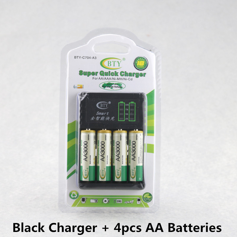 Rechargeable AA AAA Ni-MH Ni-CD Battery Charger Intelligent 4 Slots LED Display AA AAA Size5 Size 7 Battery Charger