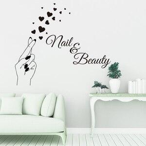 Наклейка на стену с сердечками для маникюра, маникюрного салона, виниловая наклейка на окно