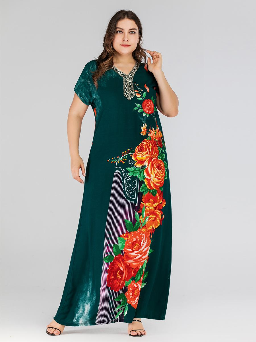 Image 2 - Boho Ethnic Women Short Sleeve Maxi Dress Plus Size Loose Print Floral Dresses Summer V neck Casual Loose Kaftan Dubai Dress New-in Islamic Clothing from Novelty & Special Use