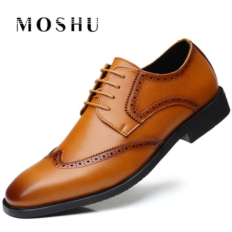 Spring Autumn Classic Men Dress Shoes Leather Formal Oxford Business Wedding Shoes Male Breathable Shoes Plus Size 38-47 стоимость