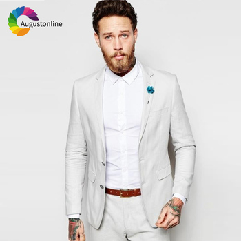 Light Gray Slim Fit Wedding Men Suits Groom Wear Tuxedos 2 Pieces (Jacket+Pants) Bridegroom Suits Best Man Blazer costume homme beige slim fit wedding suits groom tuxedos 2 pieces jacket pants bridegroom men suits best man blazer prom wear