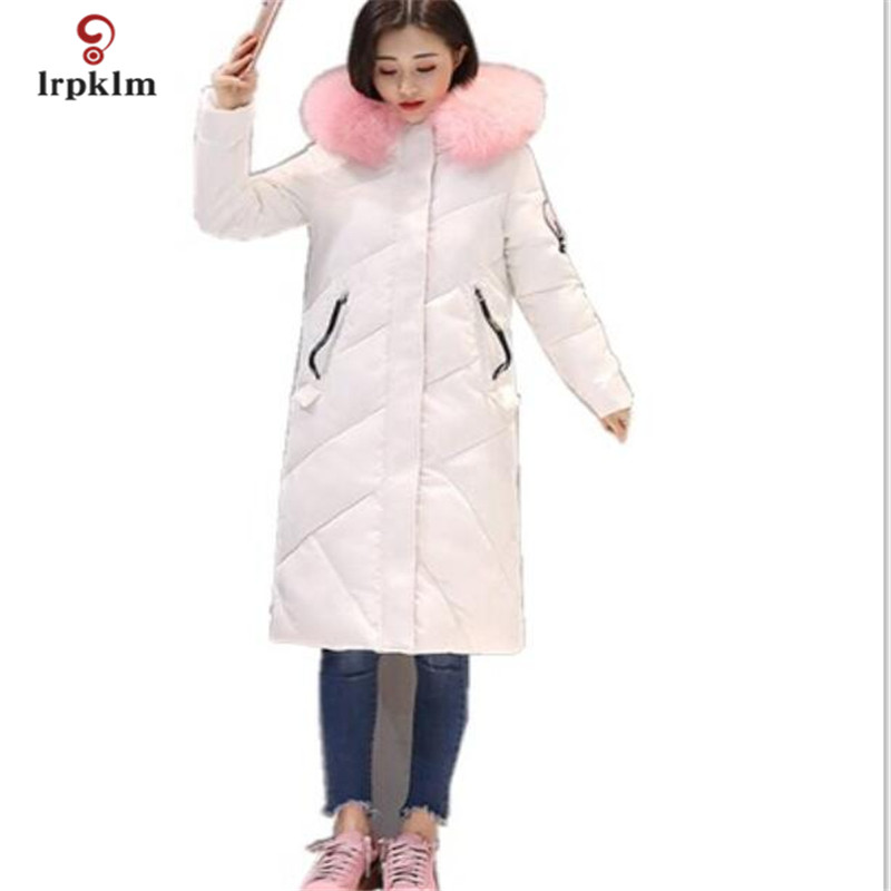 2017 New Big Color Fur Collar Hooded Female Long Winter Parkas Thick Women Cotton Padded Coat Fashion Slim Outerwear White PQ012 akslxdmmd parkas winter women jacket 2017 new fashion rabbit fur collar hooded thick padded cotton mid long coat female lh1073