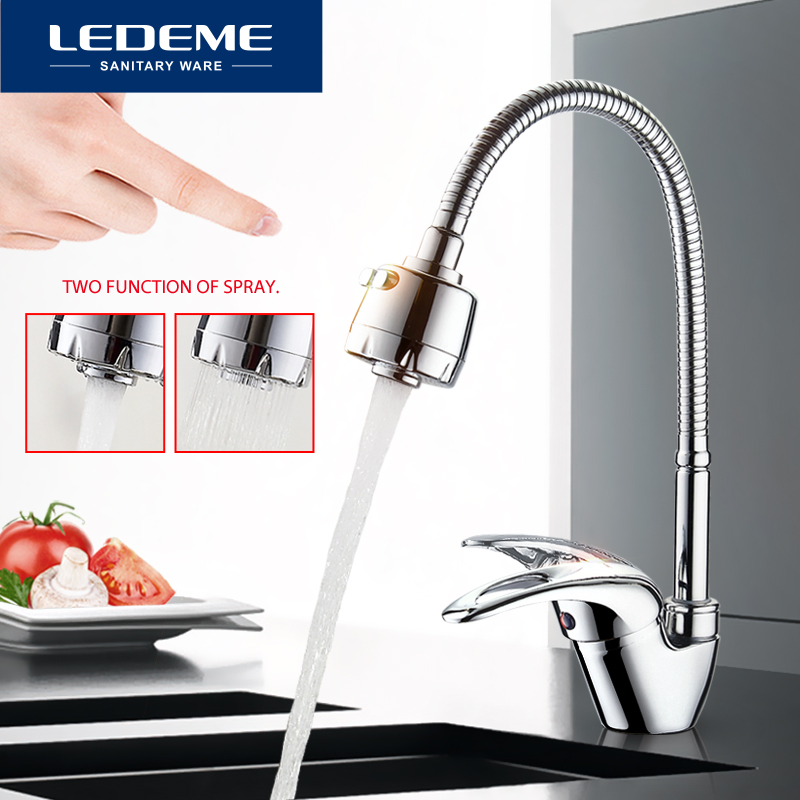 LEDEME Kitchen Faucet Universal Tube 3 Kinds Of Water Way Outlet Pipe Tap Basin Plumbing Hardware Brass Sink Faucets L4302-B