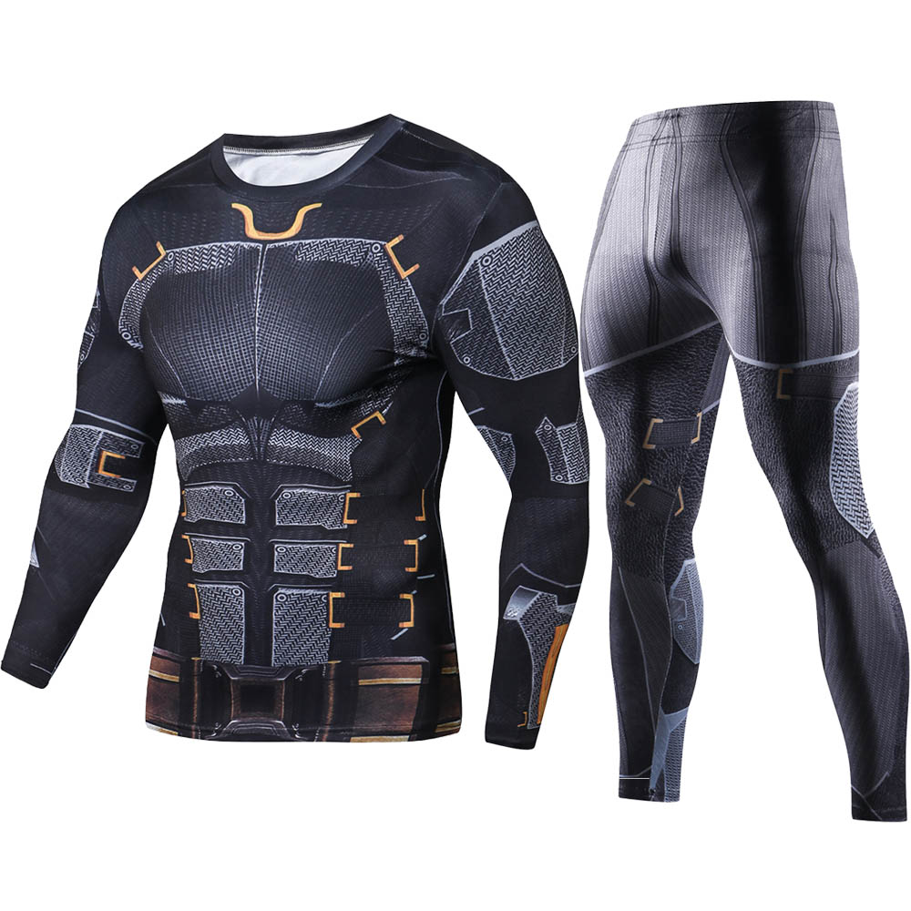 NEW Marvel Batman Men Sets Compression Fashion T-Shirt Fitness Crossfit Tracksuit Men 3D Printed Long Sleeve T Shirt Track Suit