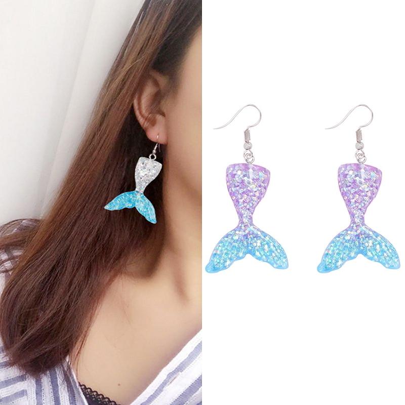 FAMARINE Purple Acrylic Drop Earrings Gold Hoops Statement Dangle Earrings Prom Costume Jewelry