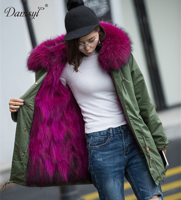 Luxury Women top quality natural real big raccoon fur collar hooded coat genuine fur lining Brand Parka Army Green Jacket 3XL