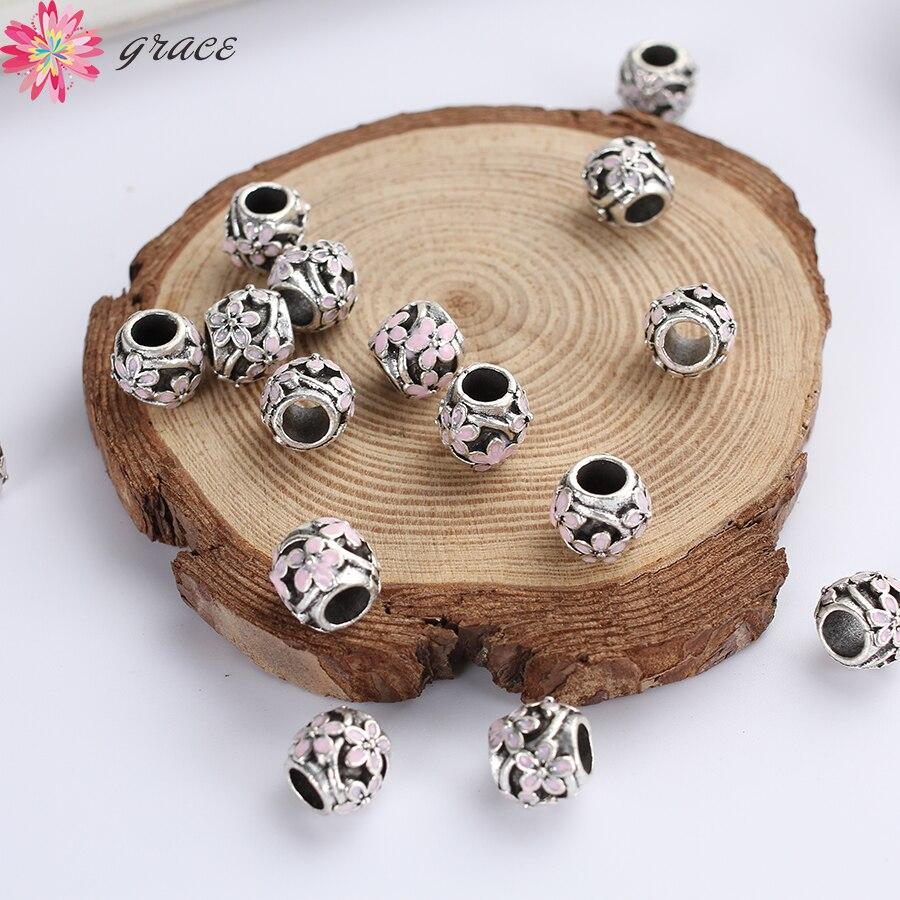 10 Teile/los Retro Edelstahl Große Loch Charme Perlen Für Armband Antike Silber 10mm Runde Blume Drucken Spacer Perlen Diy Handwerk Reine WeißE