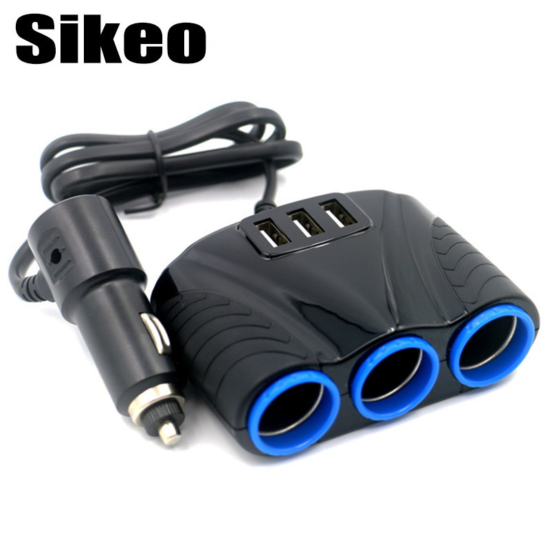 3 Way Auto Sockets Car Cigarette Lighter Adapter Lighter Splitter Lighter 5V 3.1A Output Power 3 USB Car Charger 12V/24V 1 to 3 cigarette lighter power spliter with usb output black