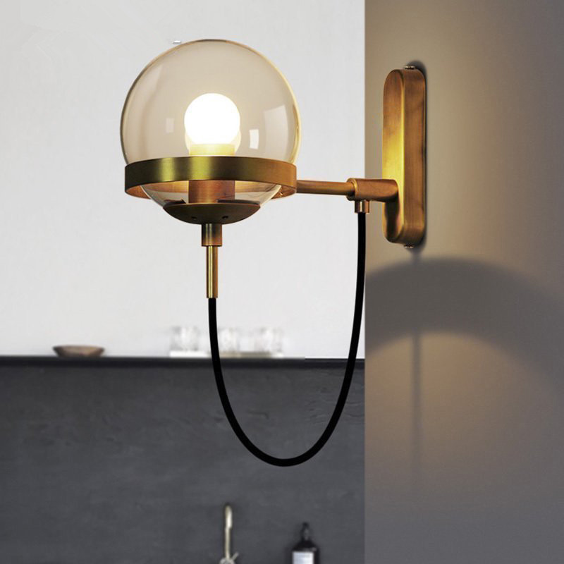 Modern Wall Lamp Glass Ball LED Wall Sconces Bedside Wall Light Fixture Bedroom Luminaria home lighting Vintage lamp fashion rustic iron bedroom bedside wall light fixture home deco living room e27 wall lamp european vintage glass wall sconces