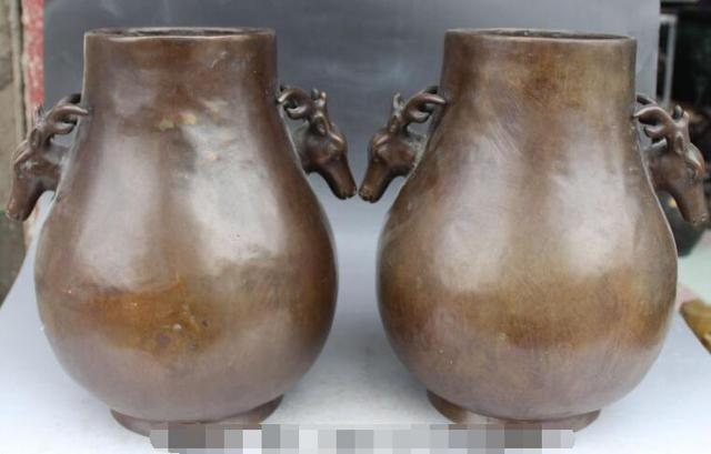 """S2209 13 """"الصينية اسرة قصر بيربل البرونزي الغزلان رئيس زجاجة زهرية وعاء تمثال زوج خصم 30% (C0324)"""