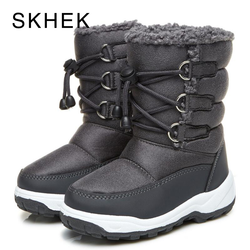 купить SKHEK Kids Winter Boots Girls Boys Pu Leather Snow Boots For Girls Children Winter Shoes Round toe Platform Plush Flat Gray по цене 1227.35 рублей