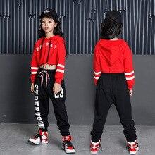 Детские толстовки в стиле хип хоп для девочек, Укороченный свитшот, топы, штаны джоггеры, танцевальные костюмы, одежда для бальных танцев