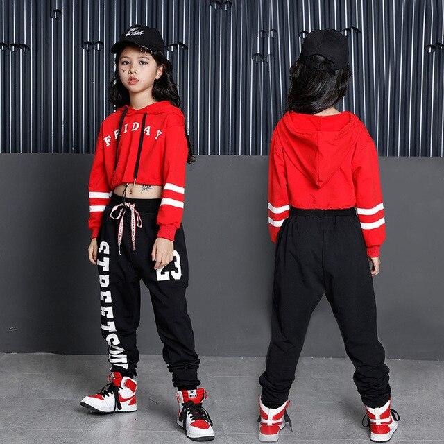 Bambini Hip Hop Felpe Abbigliamento per le Ragazze Ritagliata Felpa Magliette E Camicette Jogger Pantaloni Jazz Costumi di Ballo di Sala Da Ballo di Danza Vestiti di Usura