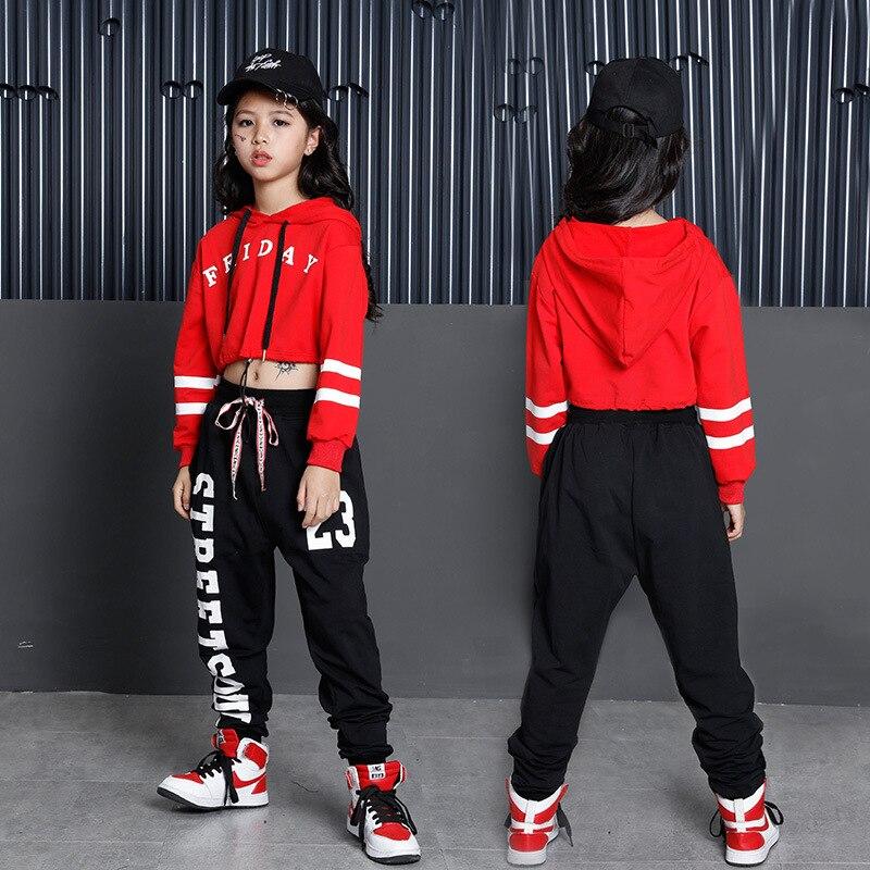 Niños Hip Hop Hoodies Ropa para Niñas Cropped sudadera Tops Jogger pantalones Jazz Dance disfraces salón ropa de baile ropa