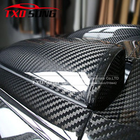 Top quality 5D Carbon Sticker Glossy 5D black carbon film with air free bubbles With SIZE:1.52*20M/Roll by free shipping