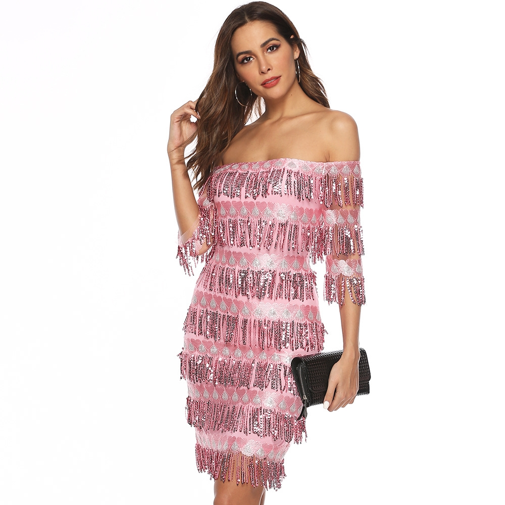 Layered Tassel Detail Dress Women 2019 New Summer Sexy Sequin Short Sleeve Slash Neck Sparking Dresses Plus Size