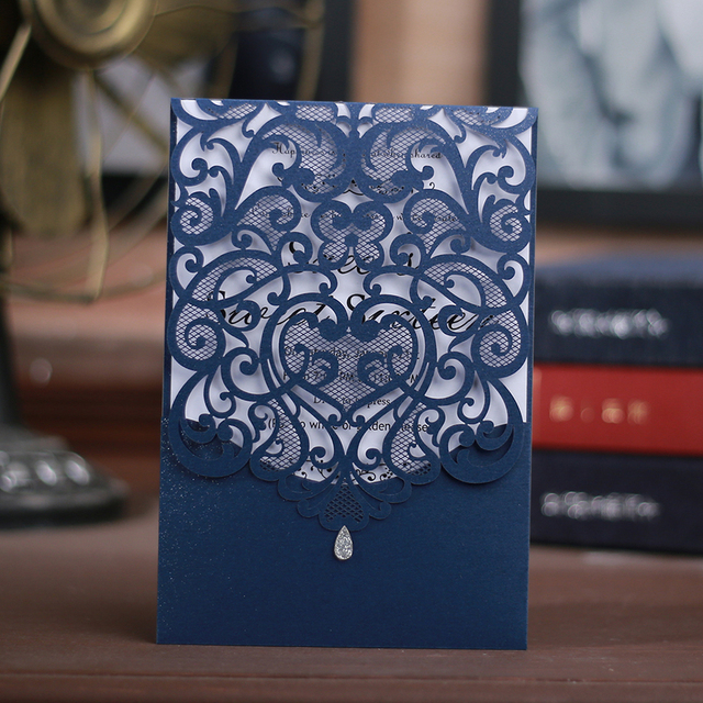 50 pieces delicate carved romantic wedding party invitation card