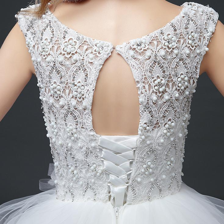VENSANAC 2018 Pearls O Neck Ball Gown Tiered Lace Appliques Wedding Dresses Elegant Crystal Open Back Bridal Gowns in Wedding Dresses from Weddings Events