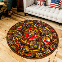 Retro Creative Maya Porch Carpet Living Room Coffee Table Bedroom Bedside Study Mats Personalized Round Pad