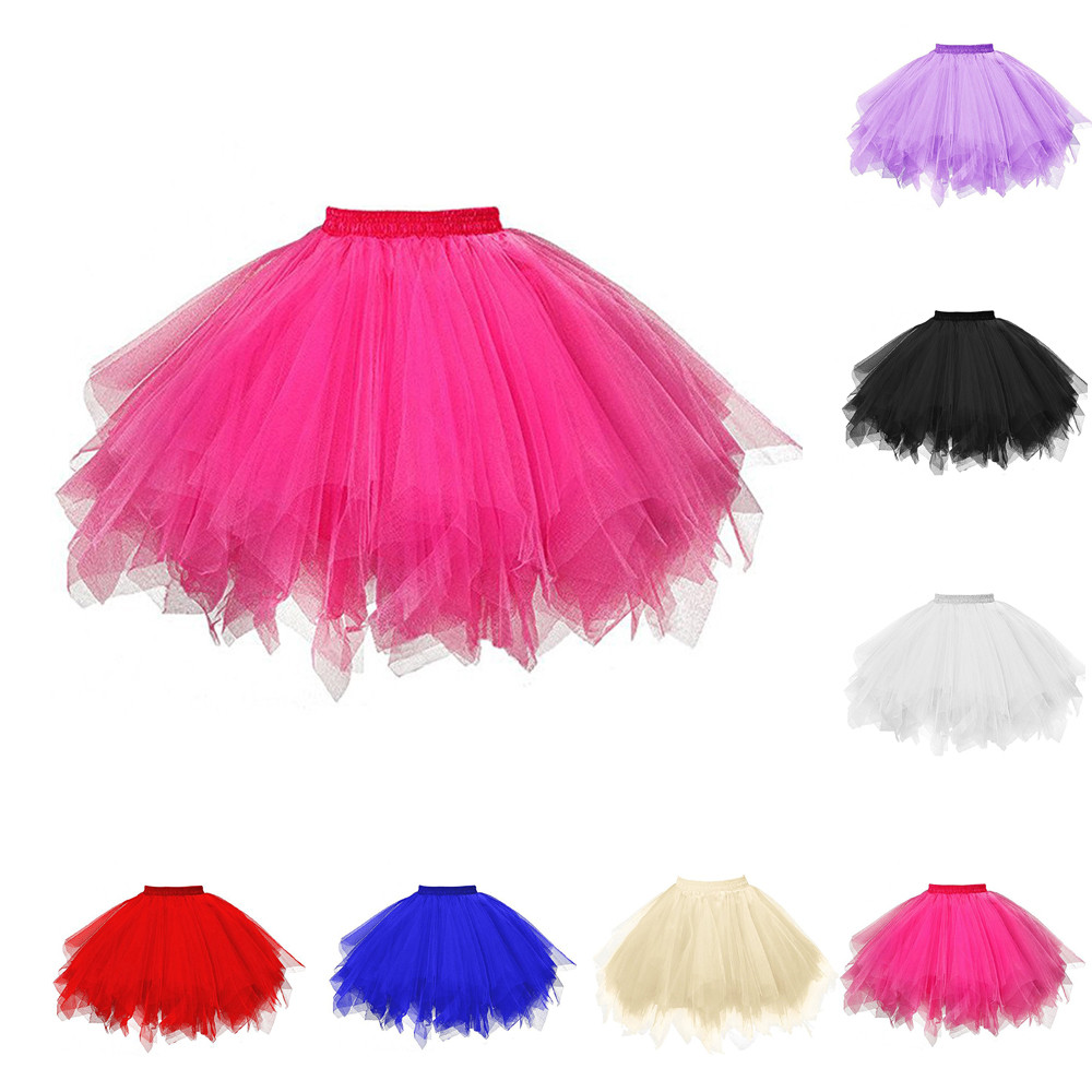 2020 Womens Short Skirt Solid Adult Dancing Ball Gown Skirt High Quality Pleated Gauze Tulle Empire Waist Skirt Falda Mujer
