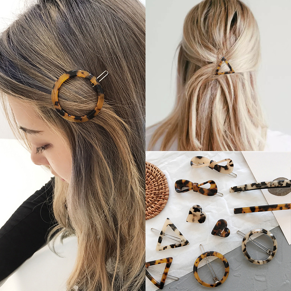 Hair-Clip Tortoiseshell Leopard Girls Woman Women's Retro Simple Bow Print Geometric