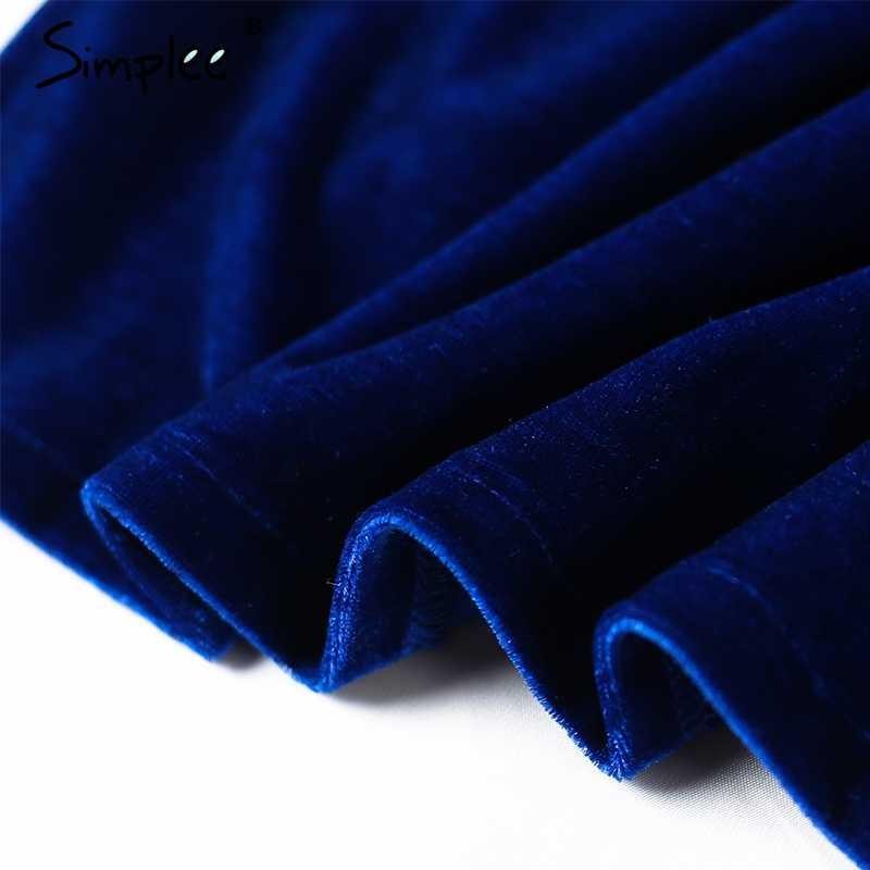 Осенне-зимнее женское платье Simplee, кружевное бархатное платье-бодикон с завязкой на шее для вечеринок с разрезом сбоку, красное, синее платье с завышенной талией