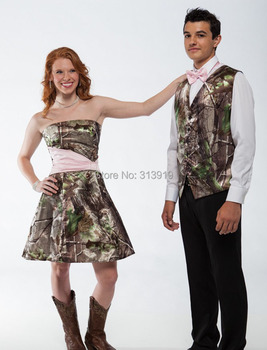free shipping strapless  camo prom dresses short  2017 new style custom make size 0 or plus sizes